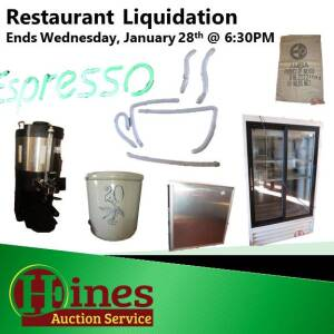 Coffee Shop Equipment  Liquidation Online Only