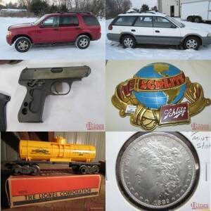 Automobiles, Gun, Beer Signs, Coin & Tools
