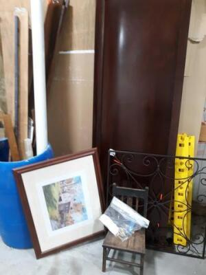 Lot of miscellaneous items - including bed rails - frame print- vintage little wooden chair - King footboard Etc.
