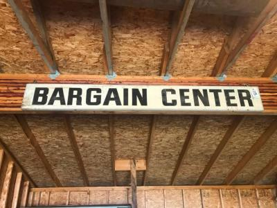 Bargain Center Wood Sign