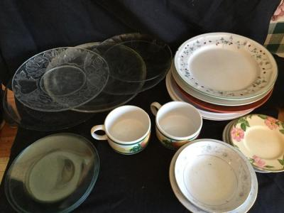 Variety of plates, soup mugs, serving plates