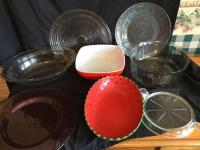 Variety of glass platter, bowls & serving pieces