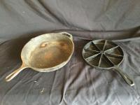 #10 cast iron (Lodge) skillet & 8 slice corn bread cast iron pan