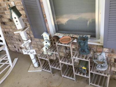 Plant stand & additional out door decorative items Including birdhouse on stand