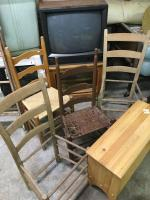 Wood table, wood window bench, 4 vintage chairs (some need bottoms0 7 Sanyo TV