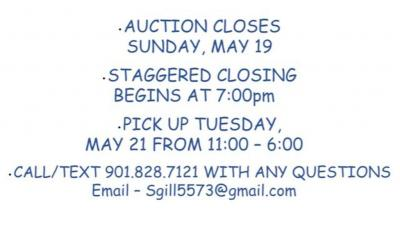 Online Auction Ends Sunday, May 19, beginning at 7:00pm - Preview from 3-5 that same day (Sunday)