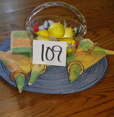 Glass Fruit Bowl with Linens