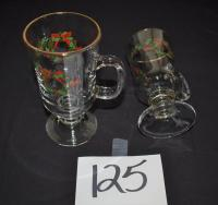 Christmas Glass Cups 9 pieces