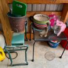 Metal Side Table, Gardener Seat & Misc.