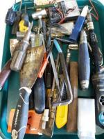 Lot of miscellaneous tools including ratchet screwdriver - angle wrenches - spackling knives Etc.