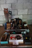 Assorted Hand Tools: Drills(2) Soldering Iron, Hand Saws(2), Gauging Tape, Hammers, Wrenches Precision Screw Drivers, Soldering Supplies, Many Screw Drivers, Caulk Gun &More