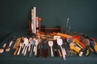 Kitchen Utensils: Spoons, Spatulas, Strainers, Rolling Pins, Whisks, Pot Strainers(4), Shelf Lining & Much More