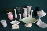 Glass & Ceramic Vases, Compote, & More