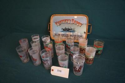 Forty Years Of Kentucky Derby Glass Tumblers & Derby Platter ( 22 Tumblers Not Shown)