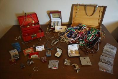 Large Collection of Costume Jewelry With Four Watches & Jewelry Boxes