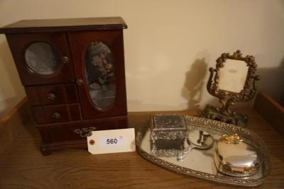 Small Hand Mirror, Table Mirror, Tray With Boxes, Jewelry Box