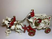 Cast iron Overland circus horse and cart with men
