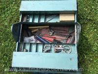 Metal folding jobsite toolbox with assortment of tools