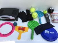 Selection of balls, frisbees , smoke and fire alarm, etc.