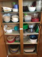 Dishes, corning ware, pie plates, Tupperware
