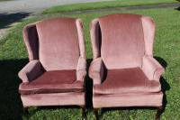 2 High Back Pink Chairs
