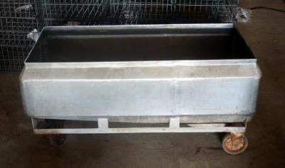 "Stainless Steel Rolling Trough With Drain, 23"" X 47"" X 23"""