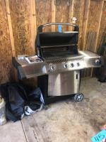 Stainless steel Napoleon gourmet grill prestige infrared series includes Stainless steel rotisserie kit - model 308/450 (like new)