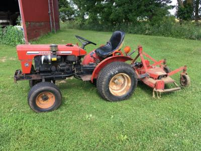 Yanmar 165 Diesel Tractor, Finish Mower and Rototiller, runs