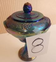 "Blue Carnival Candy Jar with top-10"" Tall, 7"" W"