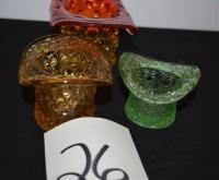 3 Glass Hats-1 amber, 1 green, 1 amber/red