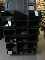 17 stackable storage bins and contents including hooks etc.