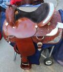 "Circle Y Western Show Saddle with Saddle Carrier- 16.5"" Seat, 29.5"" Length, 14.5"" Depth"