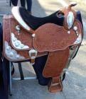 "Circle Y Pecan Show Saddle with Saddle Carrier- 16.5""-17"" Seat, 28.5"" Length, 16"" Depth"