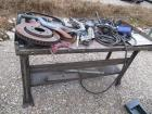 METAL WORK TABLE WITH CONTENTS