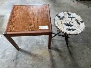 2 tables, 1 - 1980' oak, craft table twig-type legs