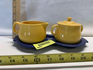 Individual Sugar Bowl w/ Lid and Individual Creamer on Figure 8 Tray