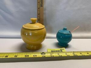 Yellow marmalade jar and turquoise mustard jar