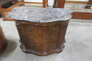 HENREDON - MARBLE TOP - 3 DRAWER NIGHT STAND