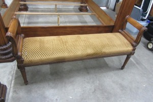 HENREDON - WOOD - CLOTH - BENCH - CARVED WOOD