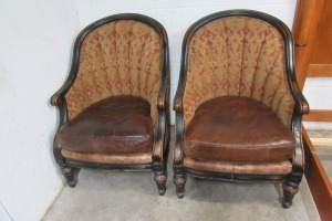 2 - CLOTH - LEATHER CHAIRS - DISTRESSED LOOK