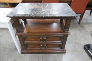 HENREDON - SIDE TABLE - MARBLE TOP - MARBLE HAS