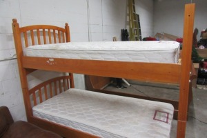WOOD - BUNKBEDS - TWIN SIZE - MATTRESES WILL BE G