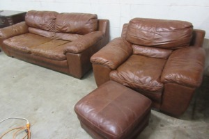 LEATHER - SOFA -CHAIR - AND OTTOMEN - 3 PCS TOTAL