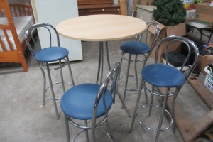 HIGH TOP TABLE - WITH 4 MATCHING STOOLS