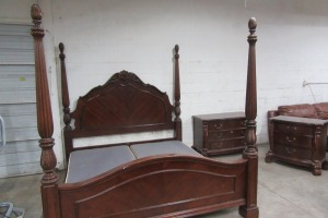 KING SIZE - CHERRY RICE BED - CHEST - NIGHT STAND