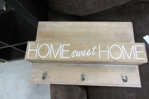 HOME SWEET HOME - WALL HANGING - SHELF W/HOOKS
