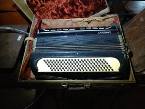 BEAUTIFUL VINTAGE ACCORDIAN IN CASE, EXCELSIOR NY, DOES STILL FUNCTION. VERY COOL VINTAGE PIECE