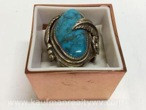 Turquoise ring, unmarked, size -12