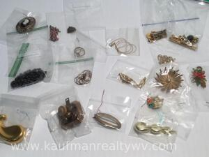 Assortment of costume jewelry and pins