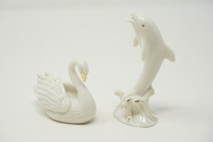 PAIR OF LENOX PORCELAIN FIGURINES, SWAN AND PORPOISE